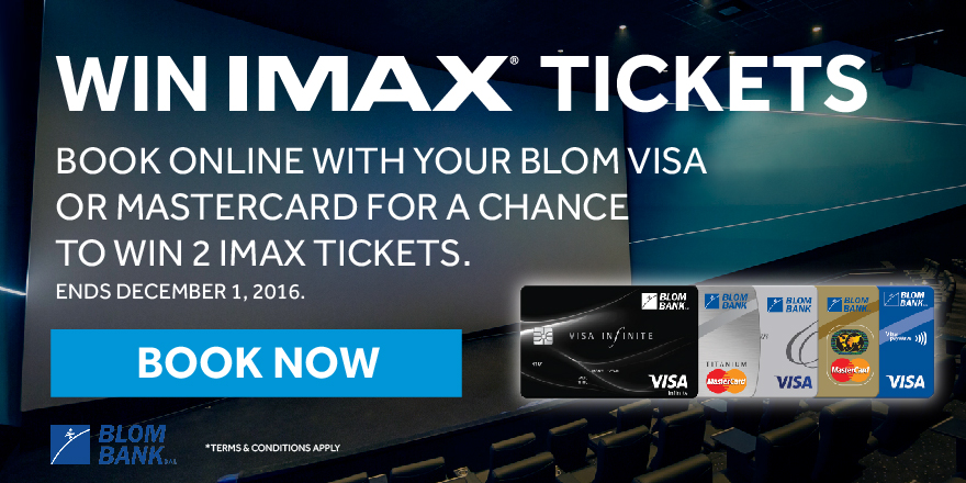 Book online with your Blom card and win 2 IMAX tickets.